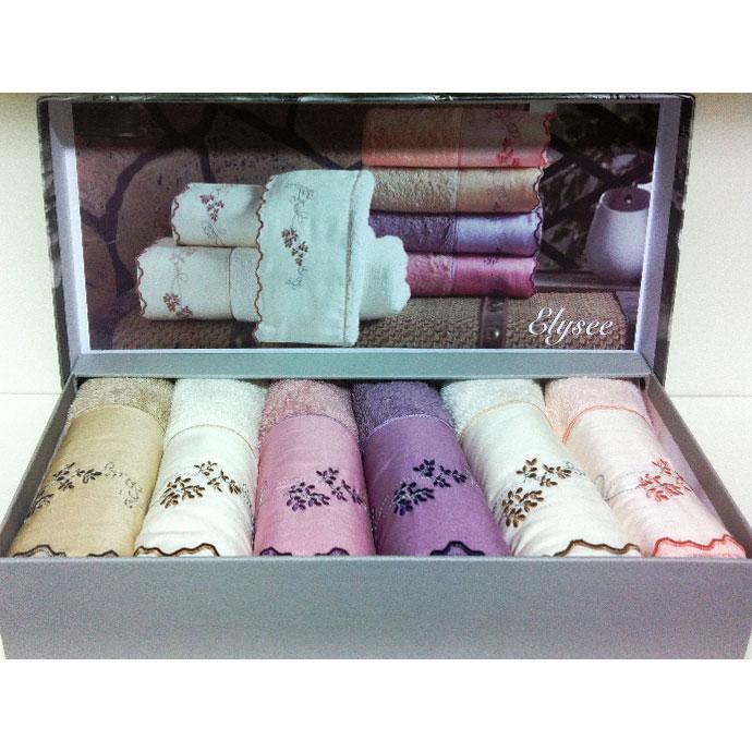 Набор салфеток махровый с вышивкой ELISSY (6 шт)