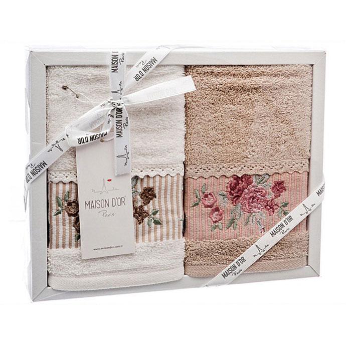Набор салфеток махровый с вышивкой и кружевом FIORE (2 шт)