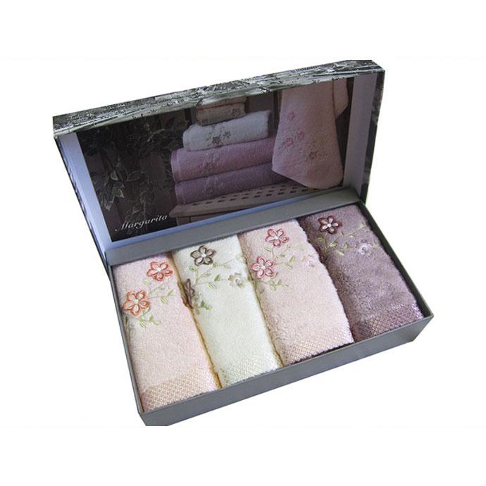 Набор салфеток махровый с вышивкой MARGARITA (4 шт)