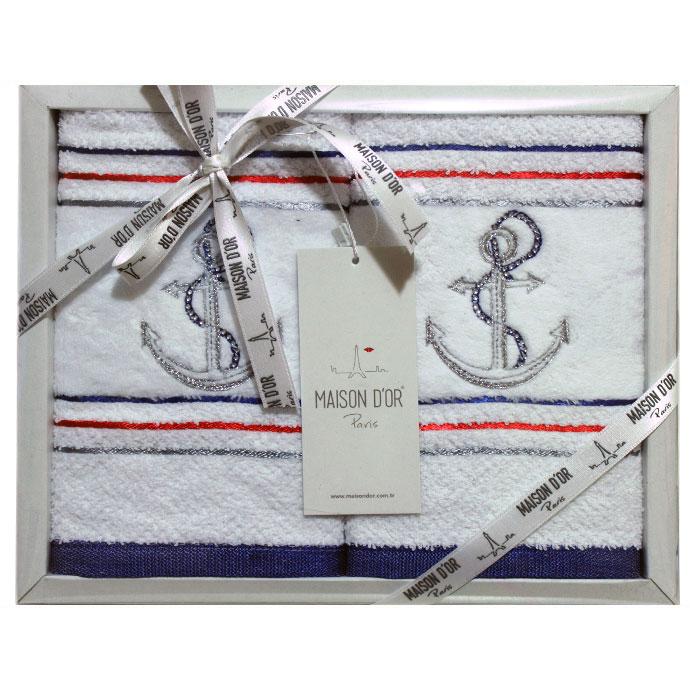 Набор салфеток махровый с вышивкой и стразами MARINA (2 шт)