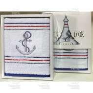 Полотенце махровое с вышивкой MARINE (50*100 см)