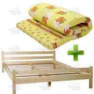 Деревянная двуспальная кровать с матрасом 120х200 см