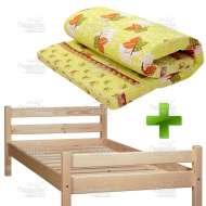 Деревянная односпальная кровать с матрасом 80х200 см