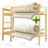 Деревянная кровать двухъярусная с двумя матрасами 80х190 см