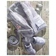 Набор (халат и тапки) велюровый мужской BOSWELL (размер S)