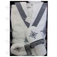 Набор (халат с капюшоном и тапки) махровый мужской MARIN